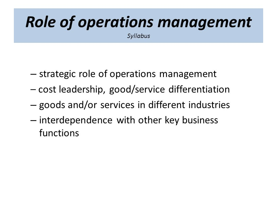strategic role of operations management