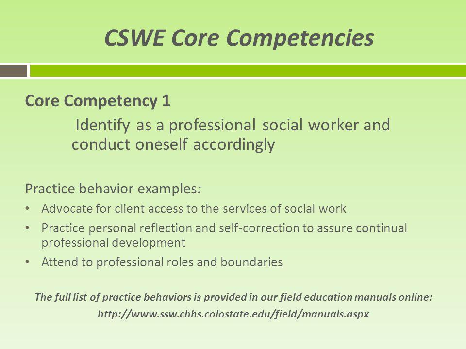 Social competencies examples.