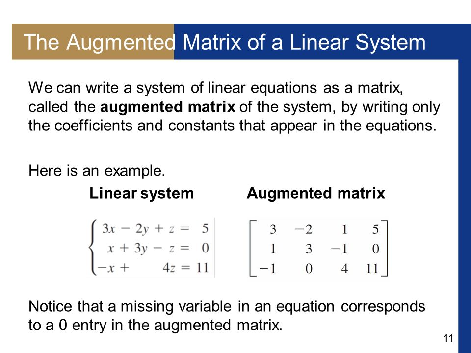 The Augmented Matrix of a Linear System
