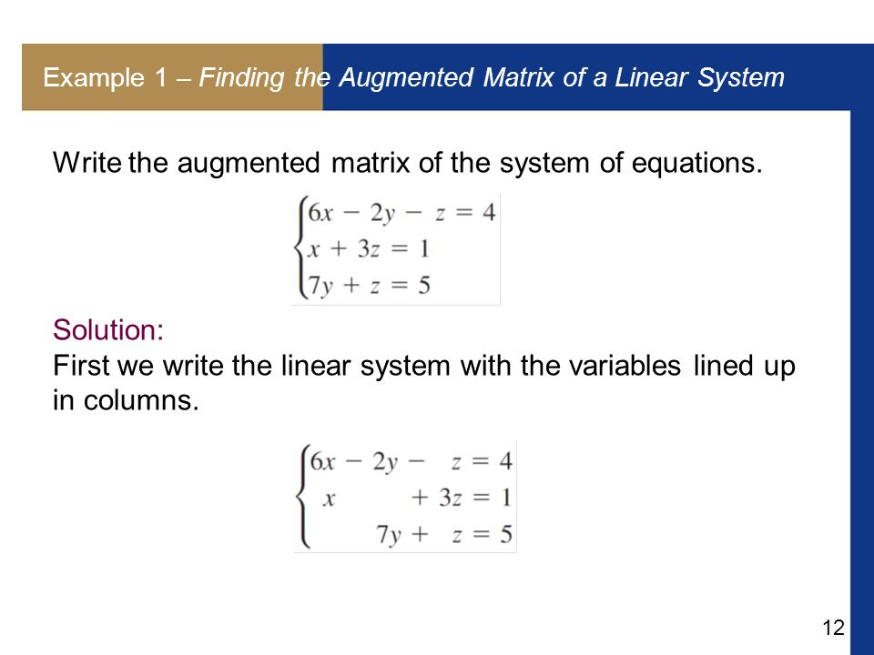 Example 1 – Finding the Augmented Matrix of a Linear System
