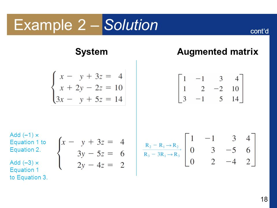 Example 2 – Solution System Augmented matrix cont'd Add (–1) 