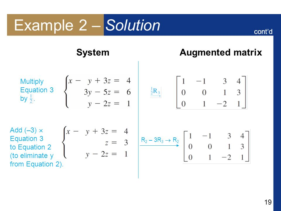 Example 2 – Solution System Augmented matrix cont'd