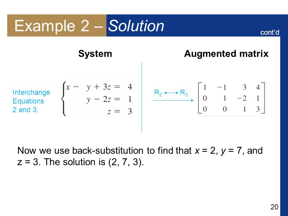 Example 2 – Solution System Augmented matrix