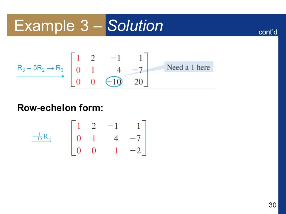 Example 3 – Solution cont'd Row-echelon form: R3 – 5R2  R3