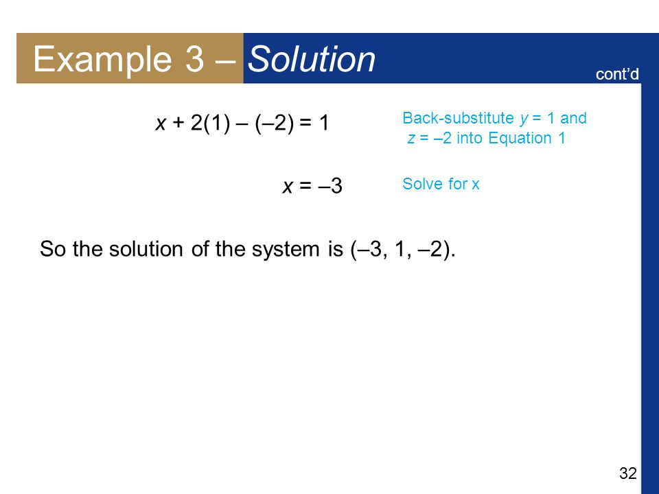 Example 3 – Solution x + 2(1) – (–2) = 1 x = –3