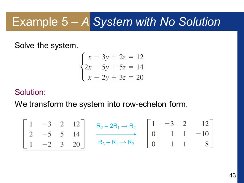 Example 5 – A System with No Solution