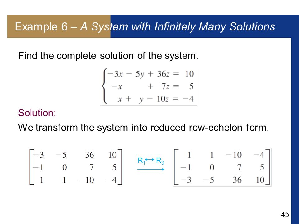 Example 6 – A System with Infinitely Many Solutions