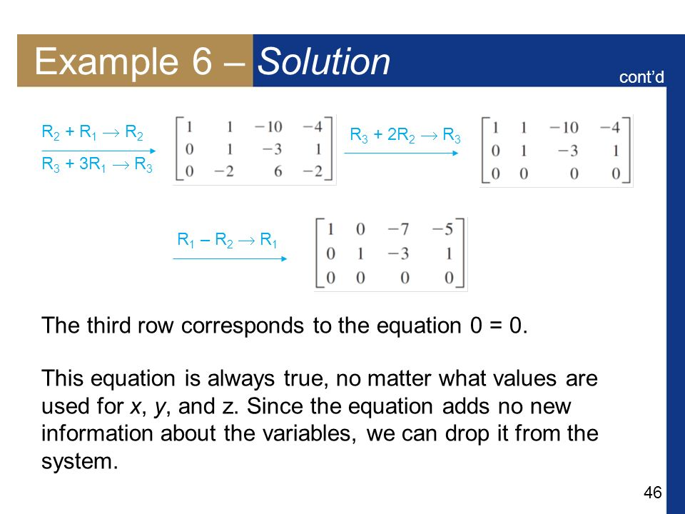 Example 6 – Solution The third row corresponds to the equation 0 = 0.