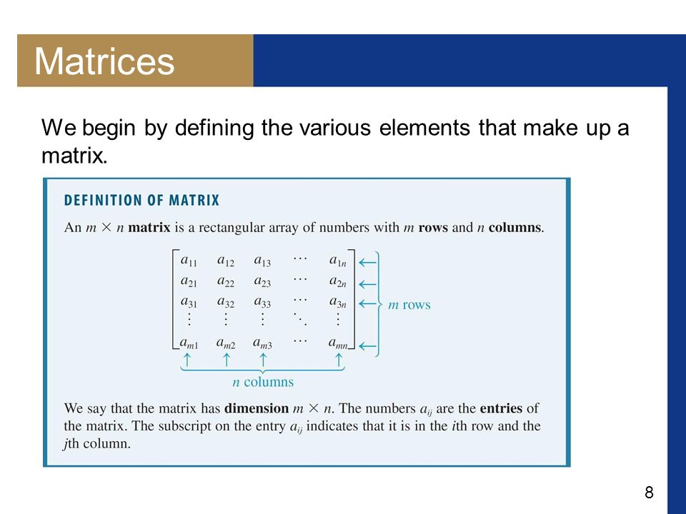 Matrices We begin by defining the various elements that make up a matrix.