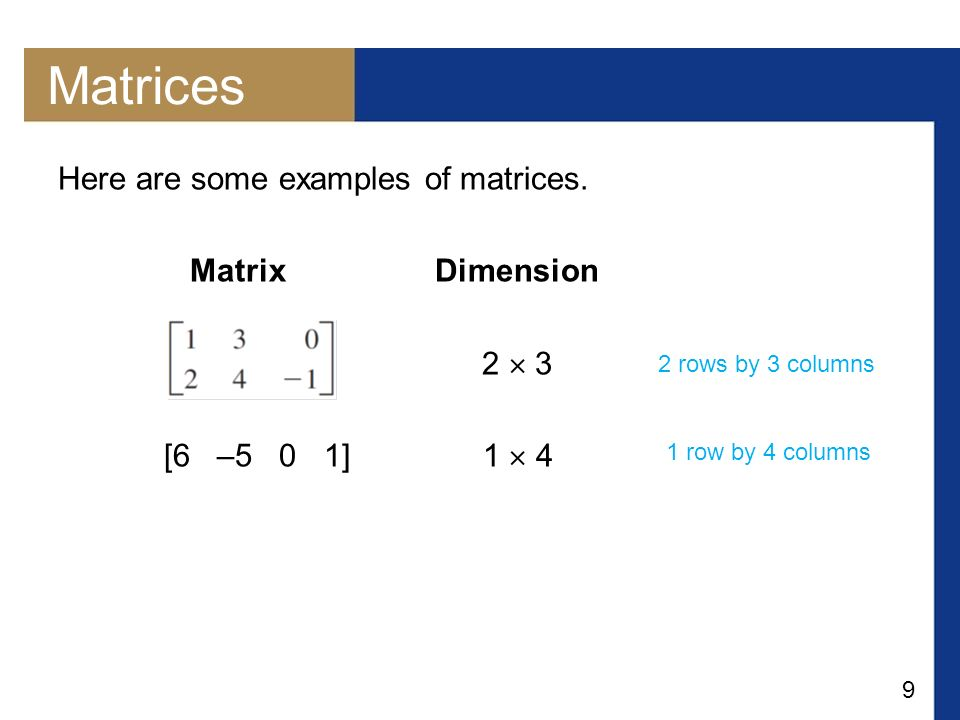 Matrices Here are some examples of matrices. Matrix Dimension 2  3
