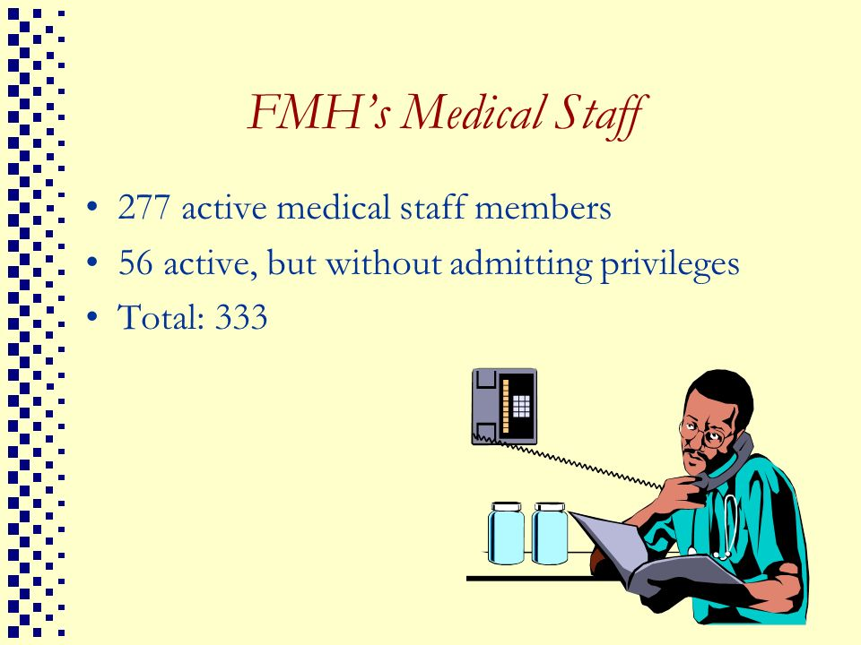 FMH's Medical Staff 277 active medical staff members