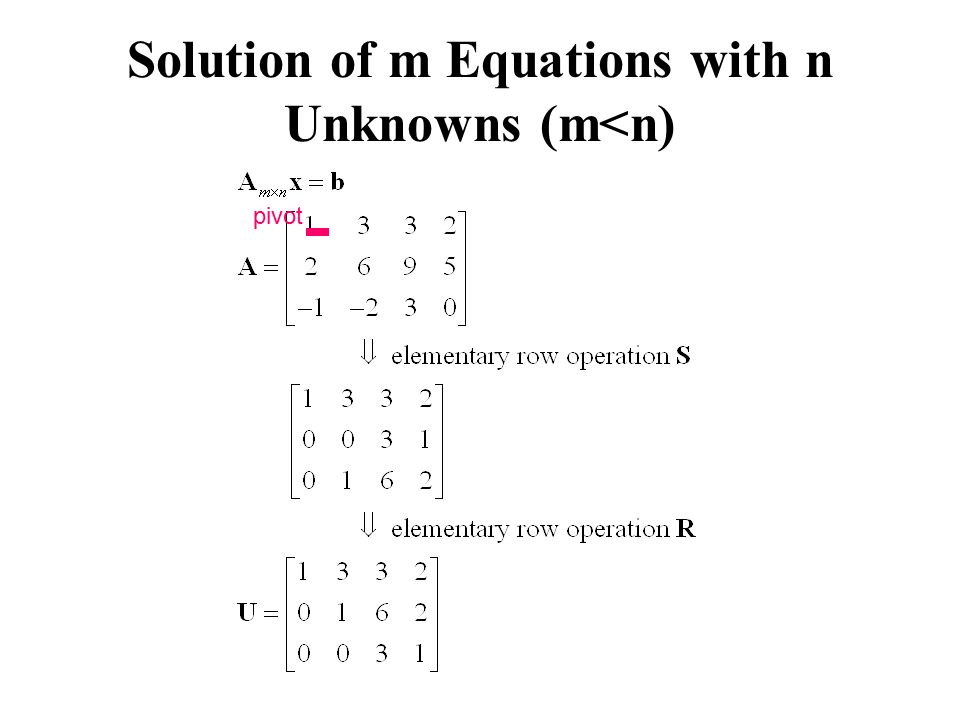 Solution of m Equations with n Unknowns (m<n)