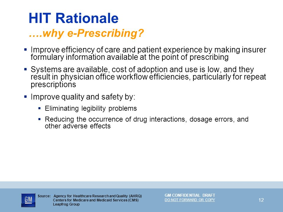 HIT Rationale ….why e-Prescribing