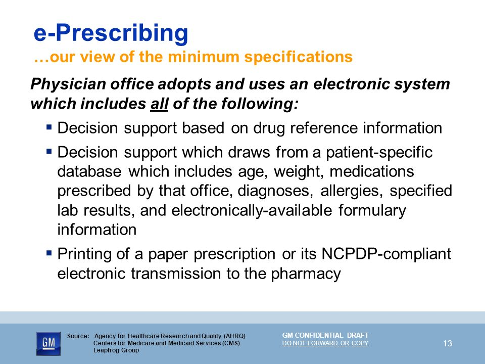 e-Prescribing …our view of the minimum specifications