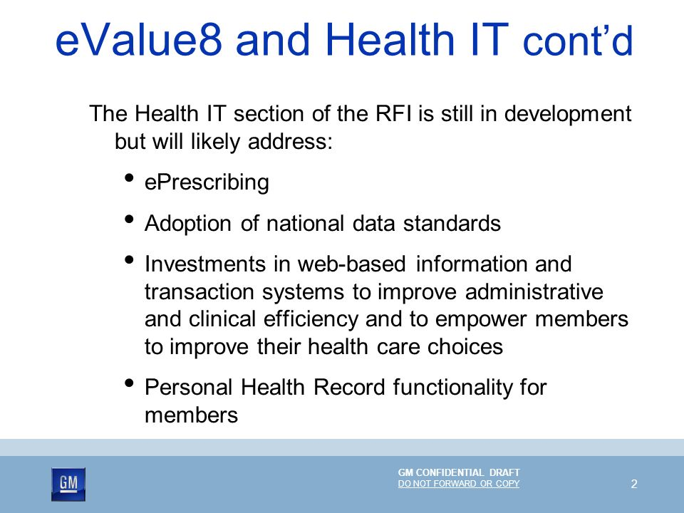 eValue8 and Health IT cont'd
