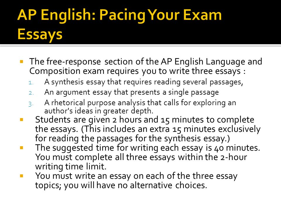Ap English Language  Composition Exam Review  Ppt Download  Ap English Pacing Your Exam Essays