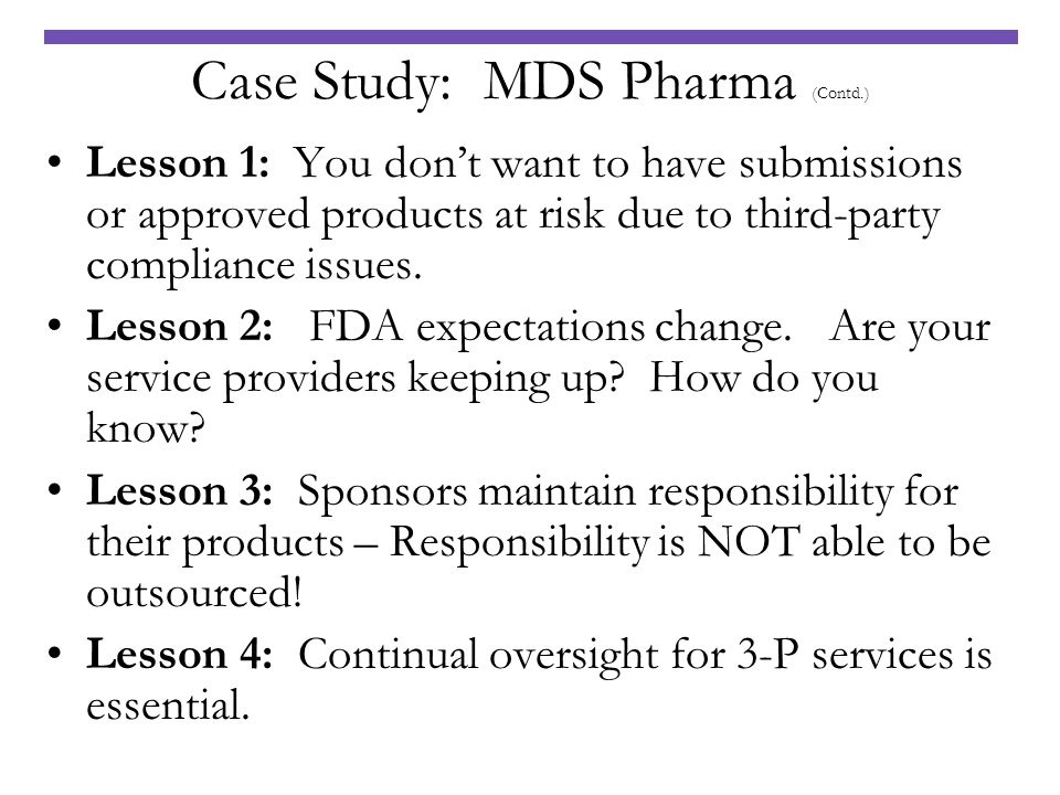 Case Study: MDS Pharma (Contd.)