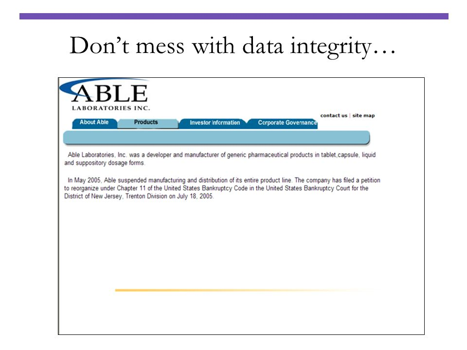 Don't mess with data integrity…
