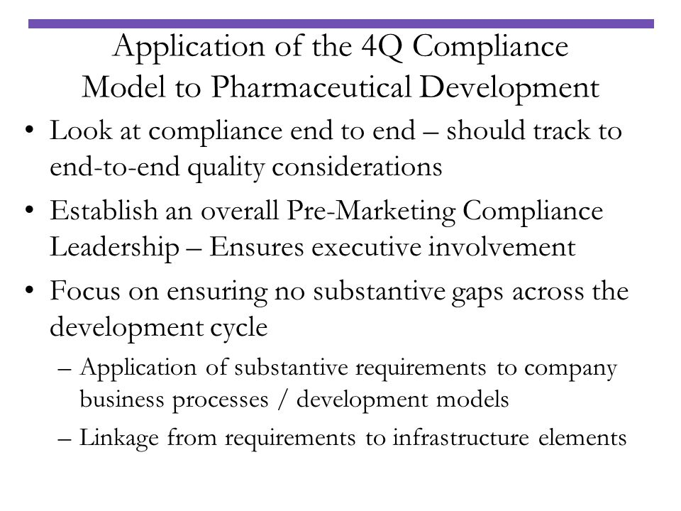 Application of the 4Q Compliance Model to Pharmaceutical Development