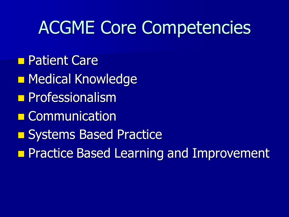 ACGME Core Competencies