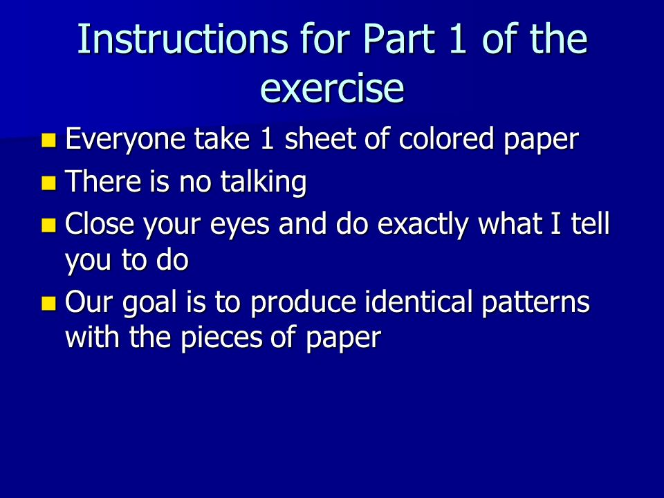 Instructions for Part 1 of the exercise
