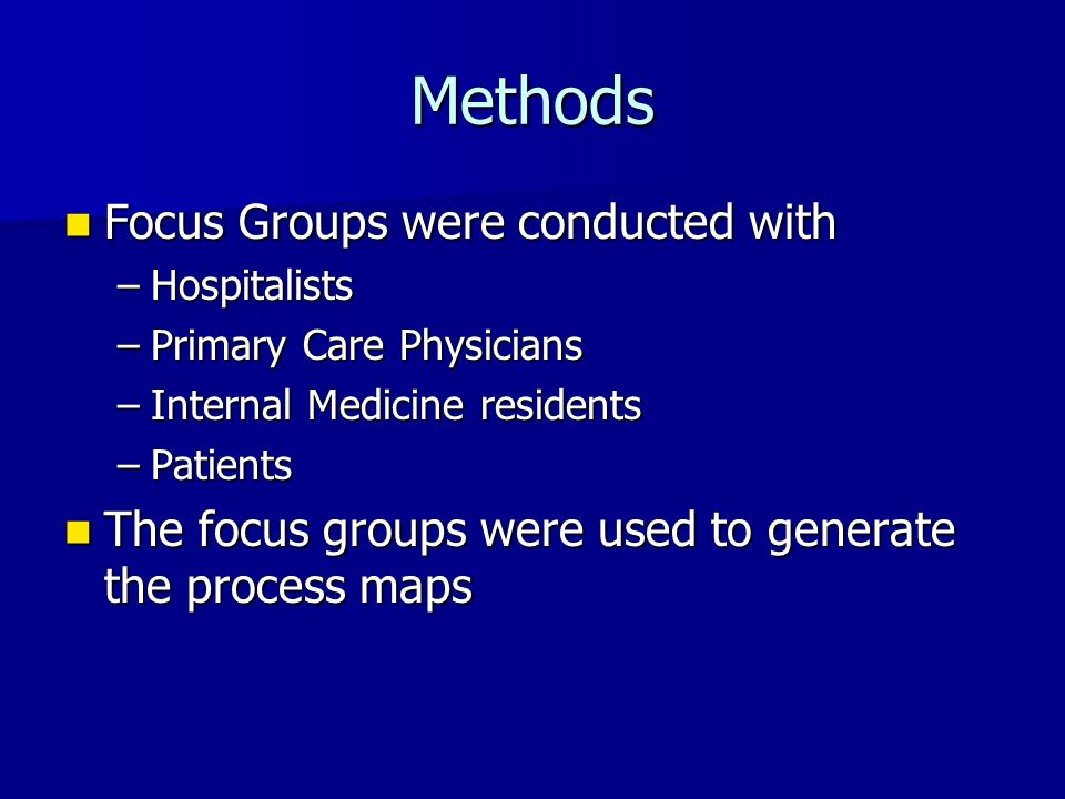 Methods Focus Groups were conducted with