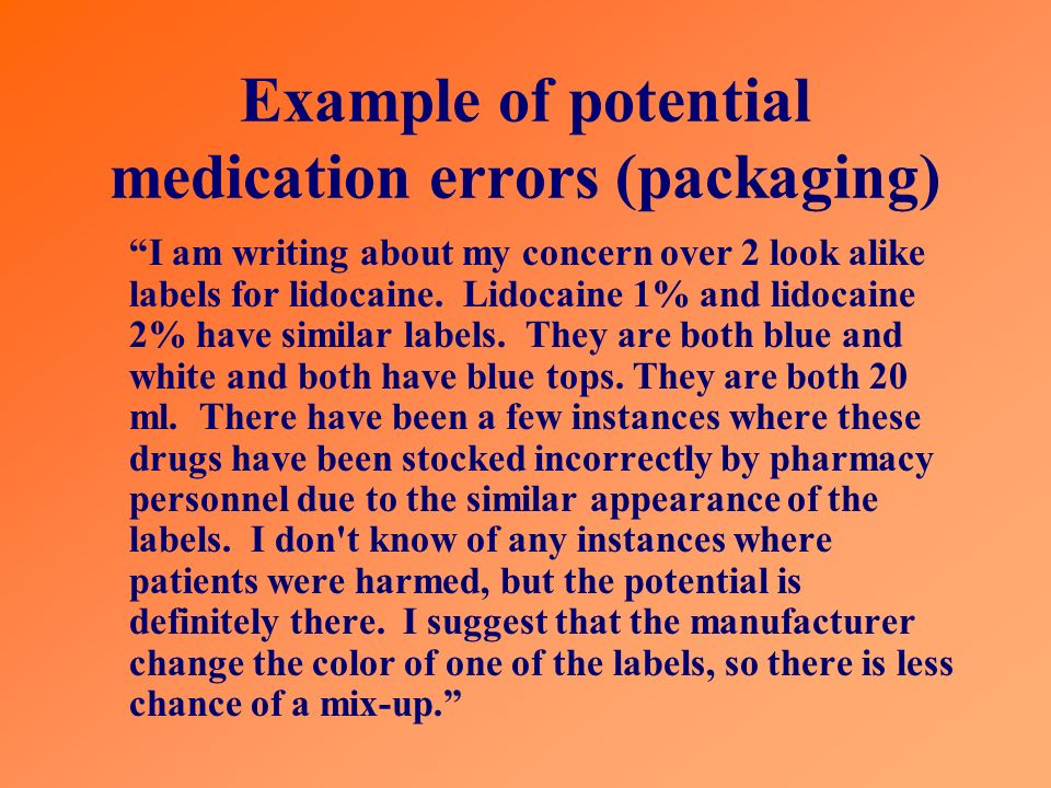 Example of potential medication errors (packaging)