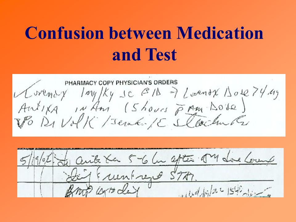 Confusion between Medication and Test