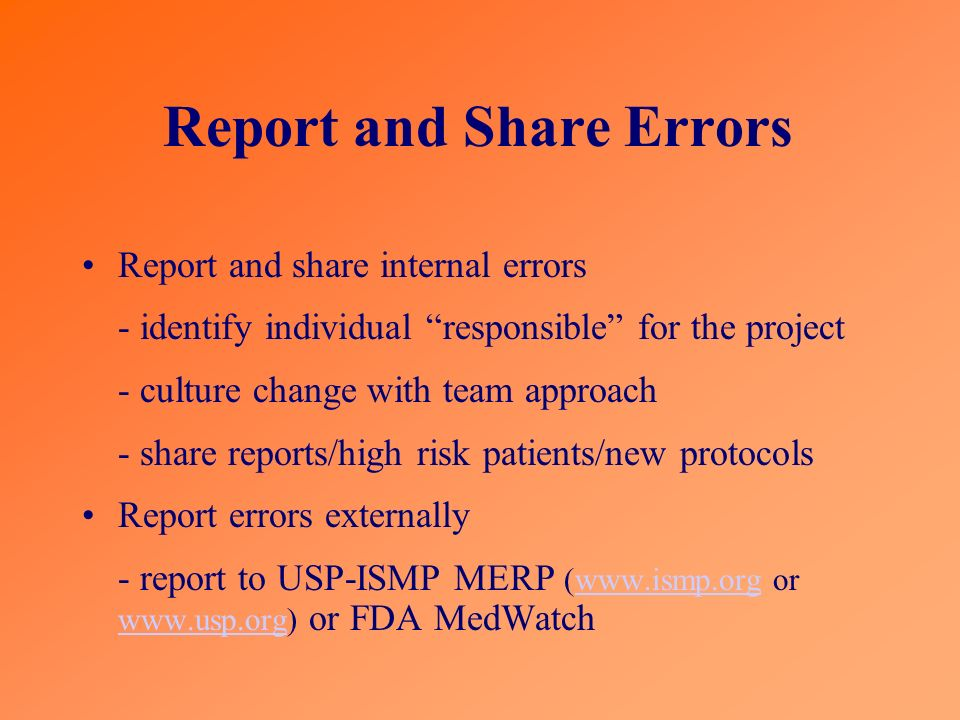 Report and Share Errors