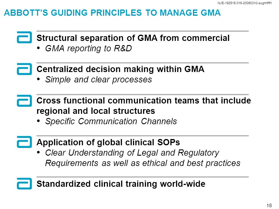 ABBOTT'S GUIDING PRINCIPLES TO MANAGE GMA