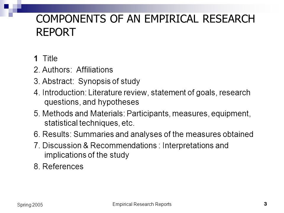 COMPONENTS OF AN EMPIRICAL RESEARCH REPORT
