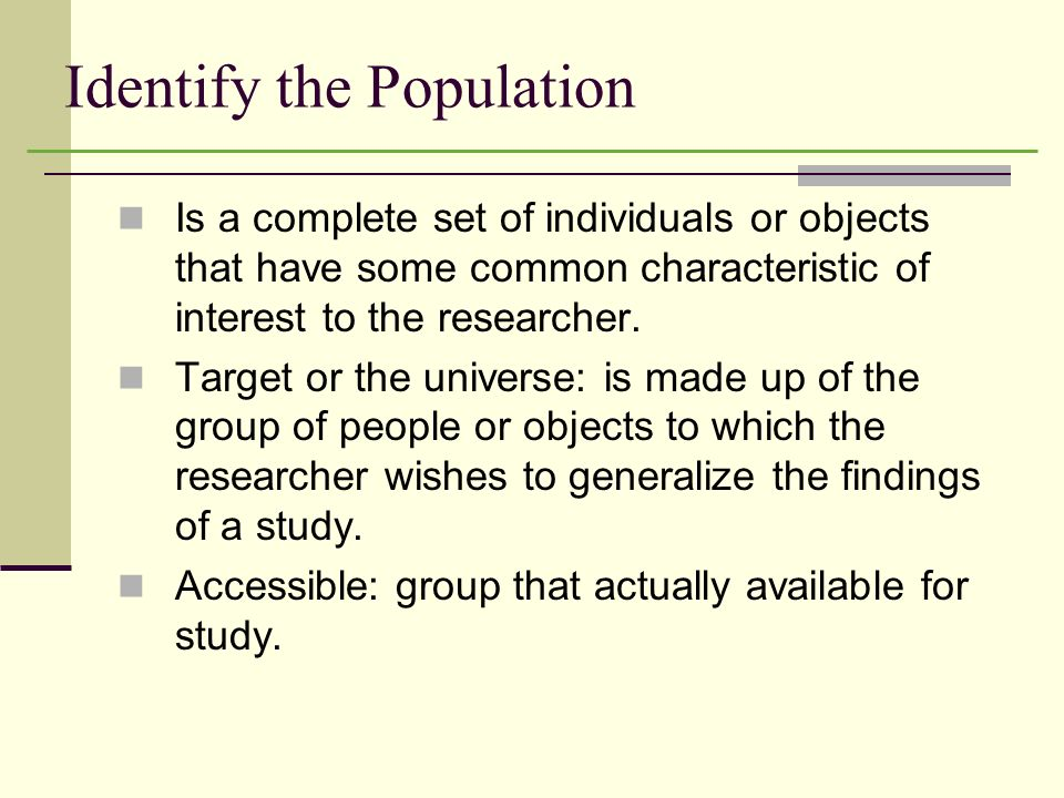 Identify the Population