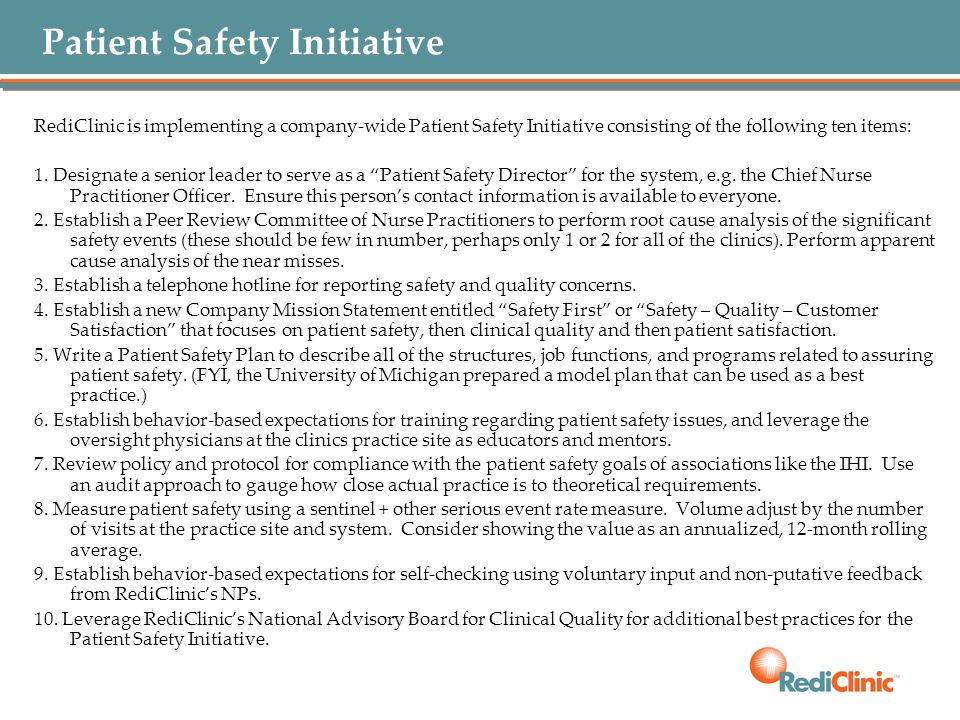 Patient Safety Initiative