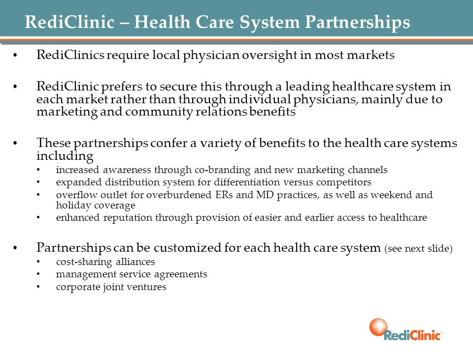 RediClinic – Health Care System Partnerships