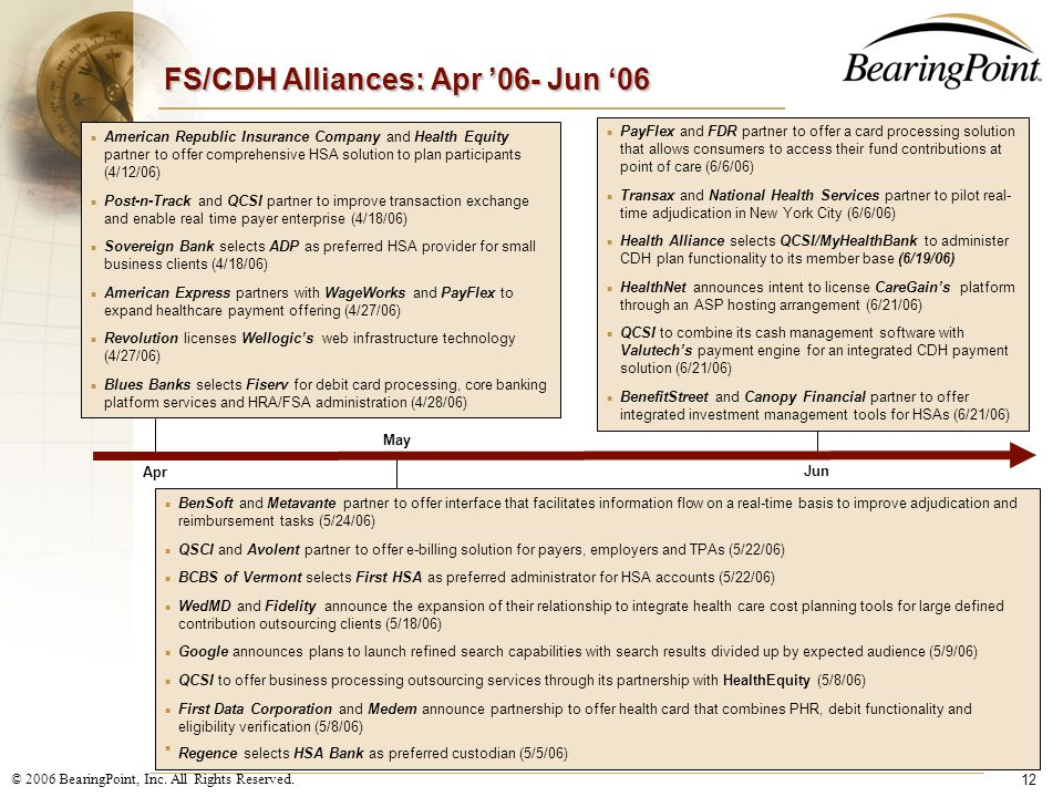 FS/CDH Alliances: Apr '06- Jun '06