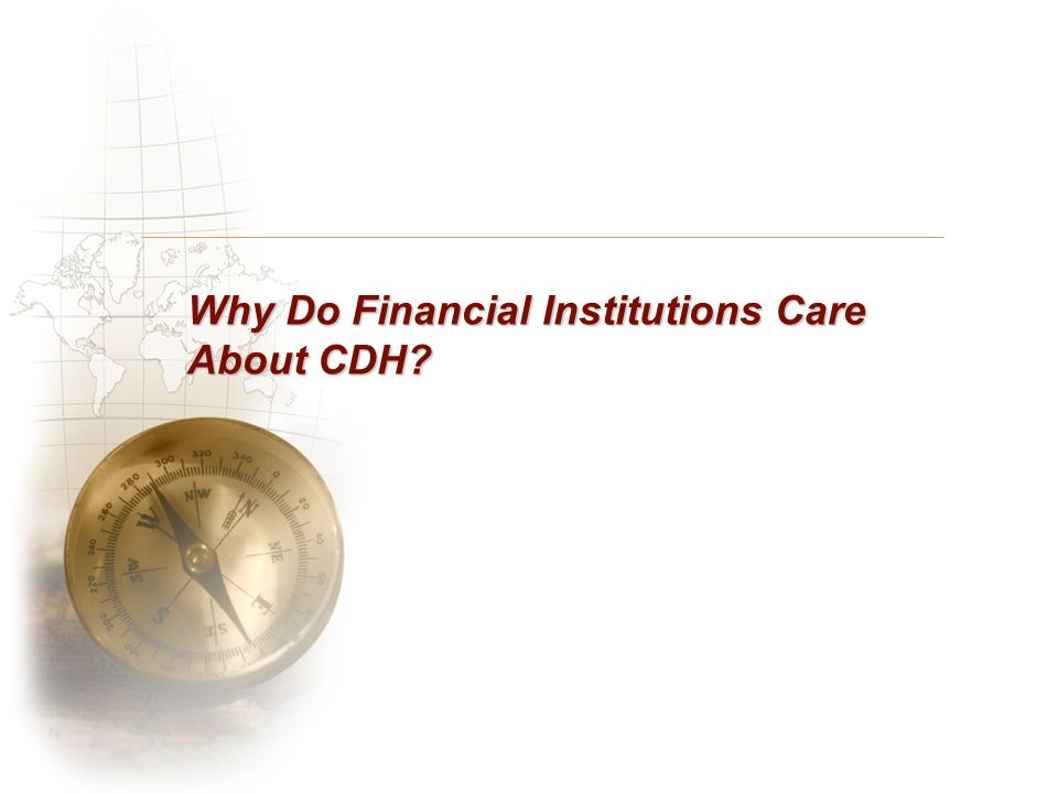Why Do Financial Institutions Care About CDH