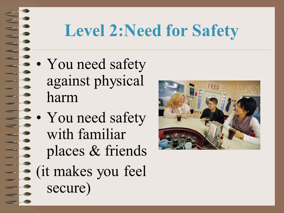 Level 2:Need for Safety You need safety against physical harm