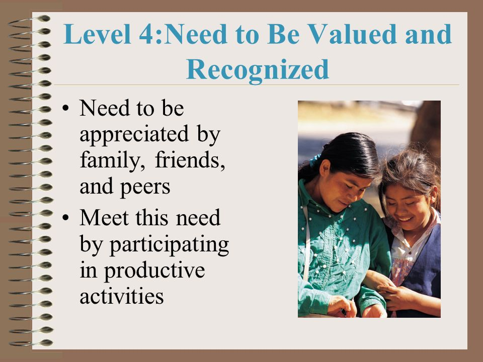 Level 4:Need to Be Valued and Recognized