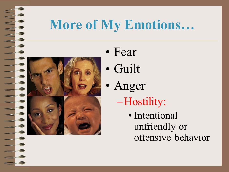 More of My Emotions… Fear Guilt Anger Hostility:
