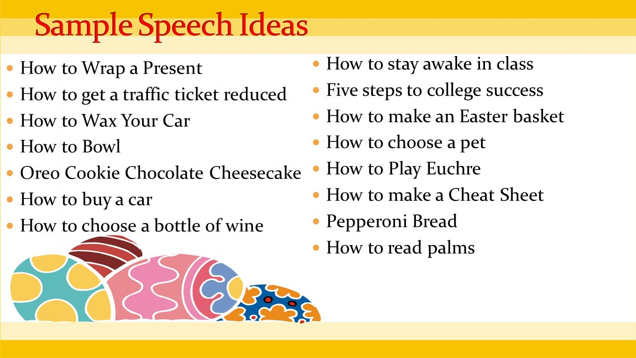 how to speech ideas for college