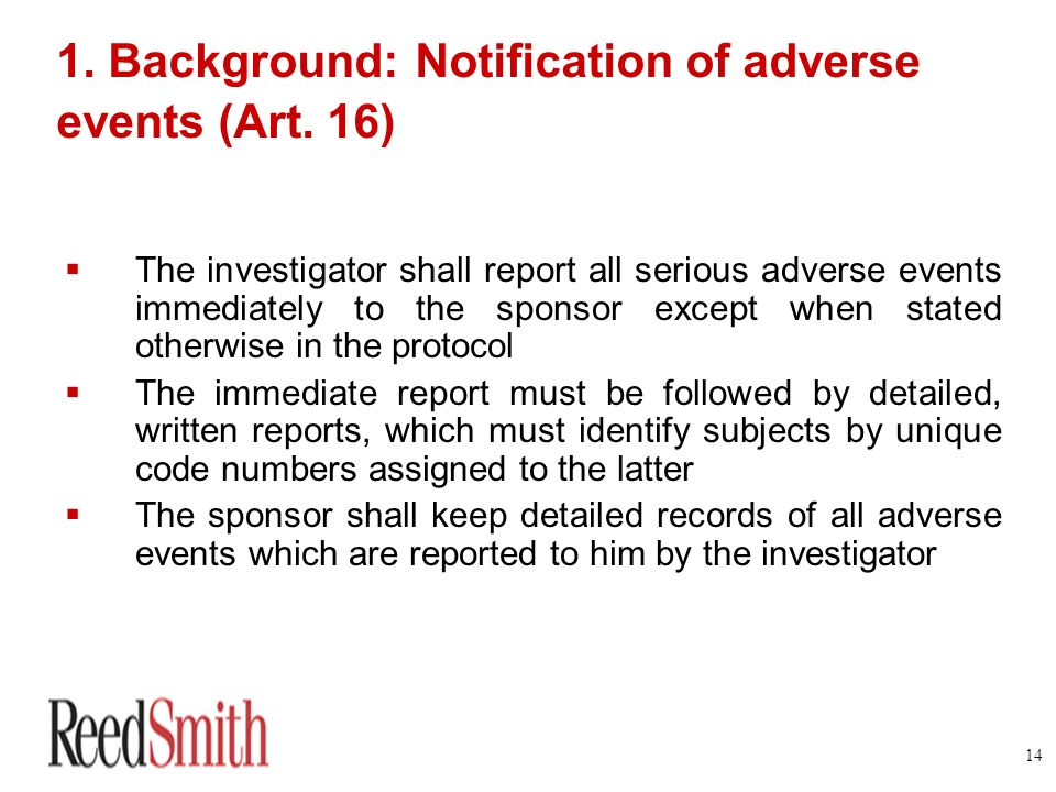 1. Background: Notification of adverse events (Art. 16)