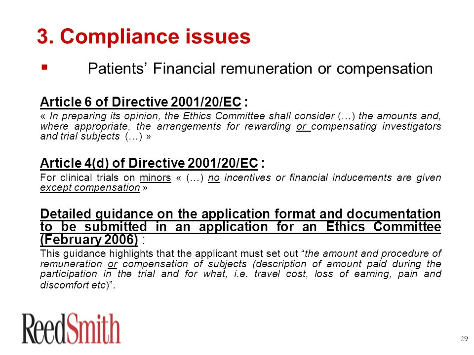 3. Compliance issues Patients' Financial remuneration or compensation