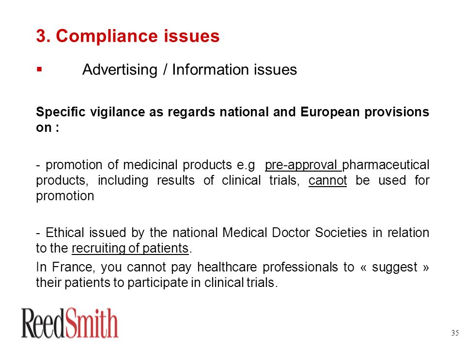 3. Compliance issues Advertising / Information issues