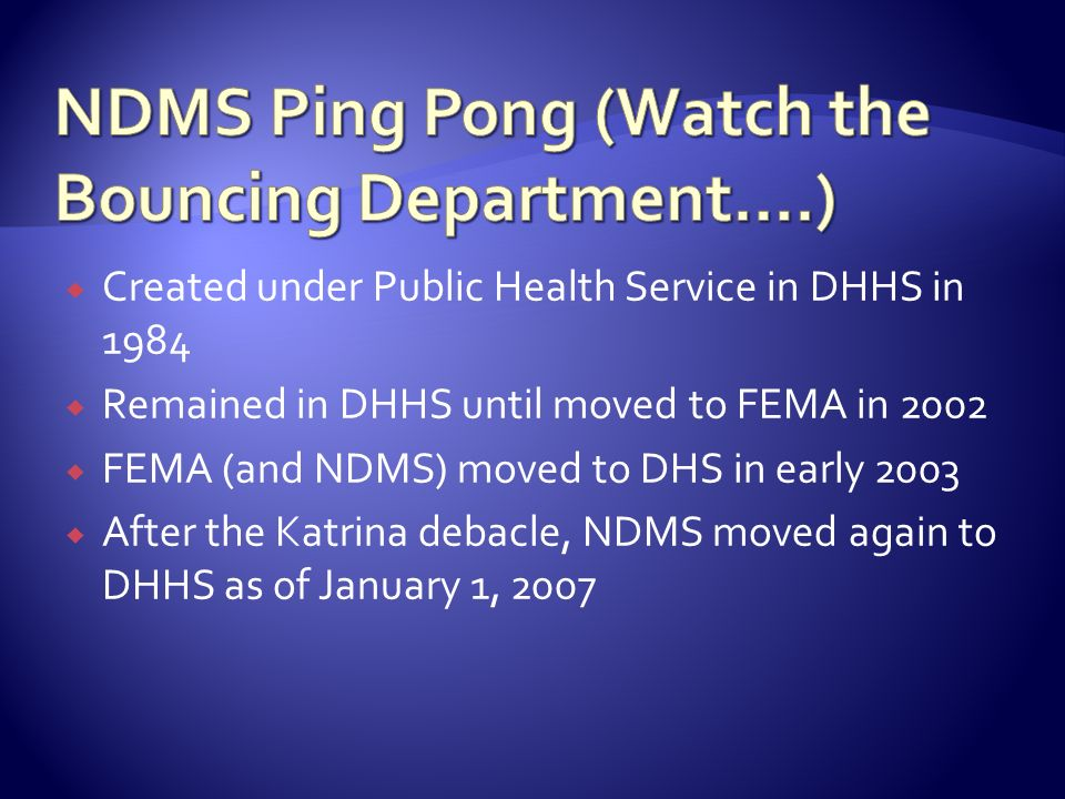 NDMS Ping Pong (Watch the Bouncing Department….)