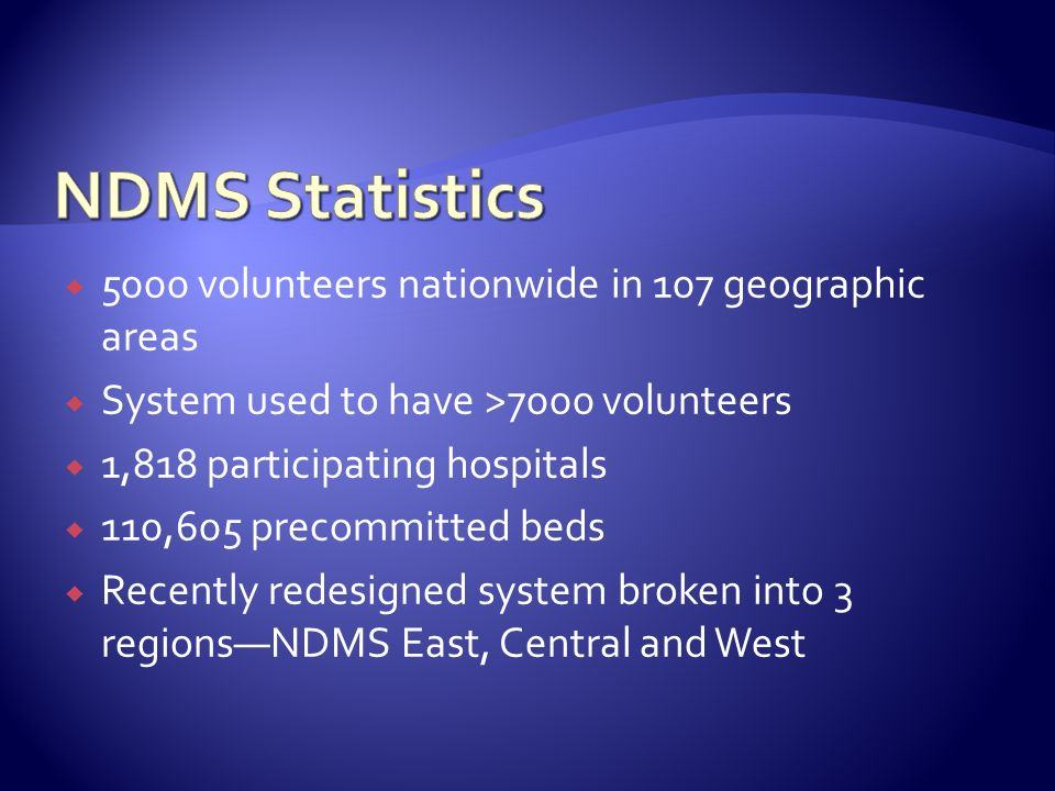 NDMS Statistics 5000 volunteers nationwide in 107 geographic areas