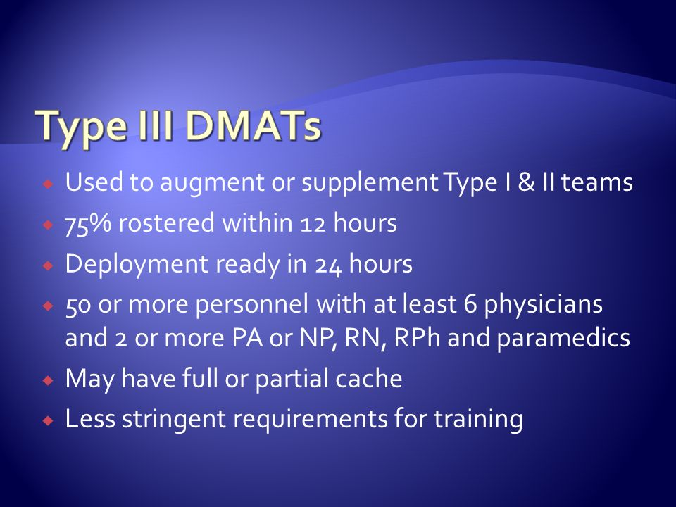 Type III DMATs Used to augment or supplement Type I & II teams