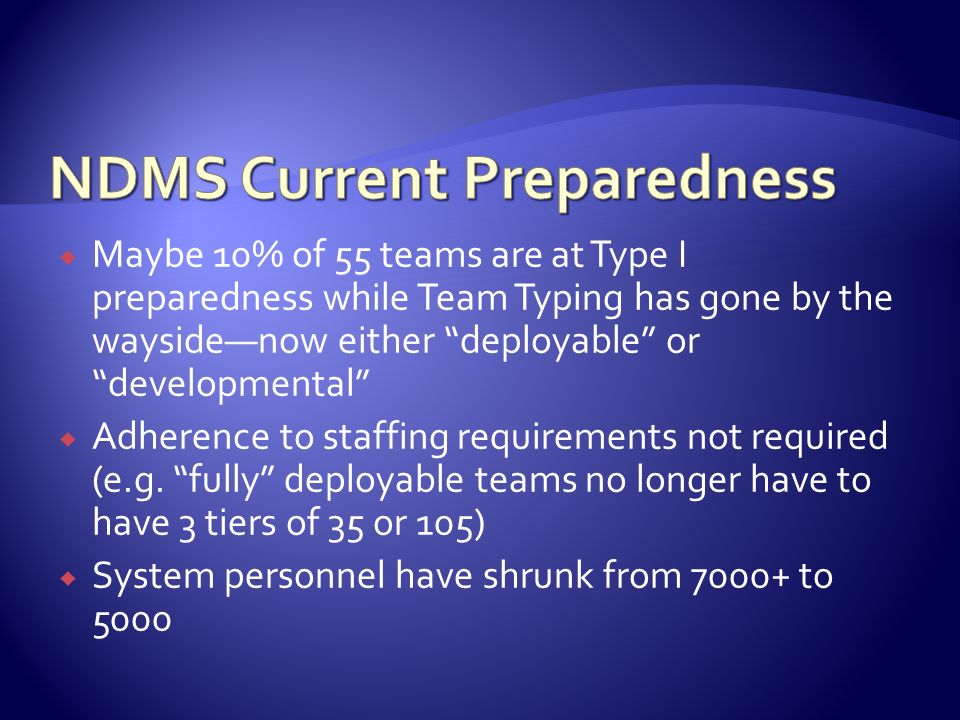 NDMS Current Preparedness