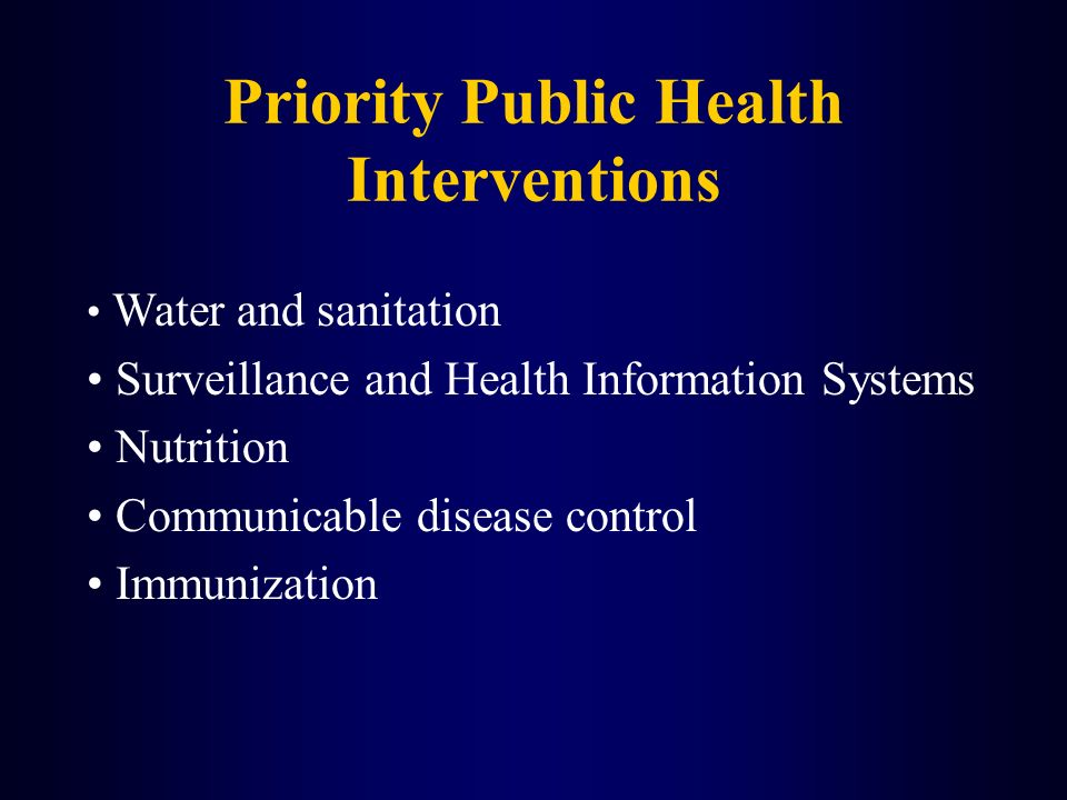 Priority Public Health Interventions