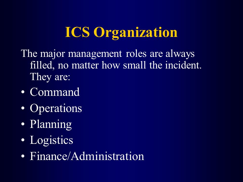 ICS Organization Command Operations Planning Logistics