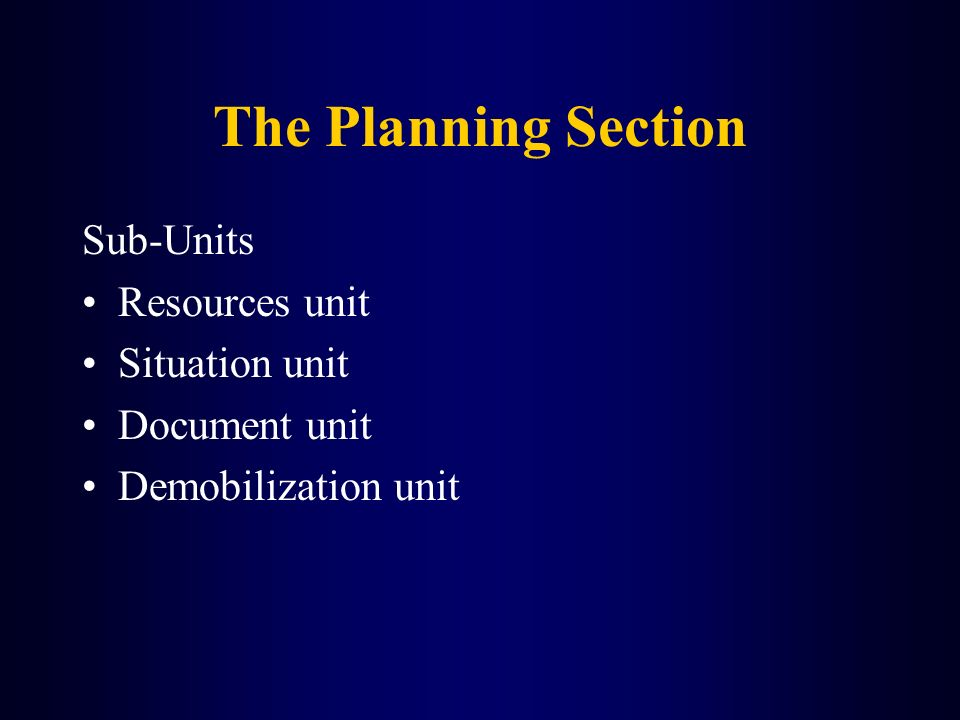 The Planning Section Sub-Units Resources unit Situation unit